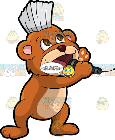 Brushy Bear Singing A Song. A cute brown bear with brown eyes and a white bristle mohawk hair cut, holding a microphone and singing into it