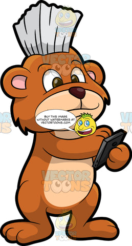 Brushy Bear Using A Smart Phone. A cute brown bear with brown eyes and a white bristle mohawk hair cut, standing and using an app on a smart phone