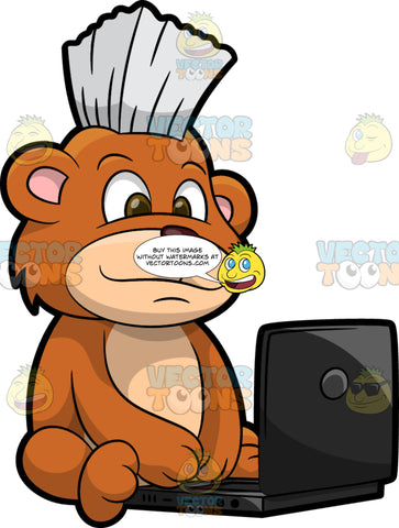 Brushy Bear Working On A Laptop. A cute brown bear with brown eyes and a white bristle mohawk hair cut, sitting on the floor and doing some work on his laptop computer