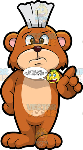 Brushy Bear Wagging His Finger In Disapproval. A cute brown bear with brown eyes and a white bristle mohawk hair cut, standing with a frown on his face and wagging his index finger at someone