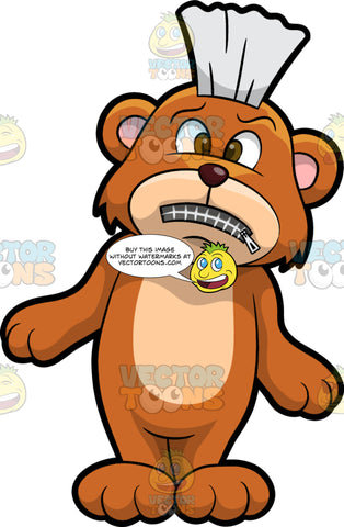 Brushy Bear Standing With His Mouth Zipped Shut. A cute brown bear with brown eyes and a white bristle mohawk hair cut, standing and looking upset because his mouth is closed shut with a zipper