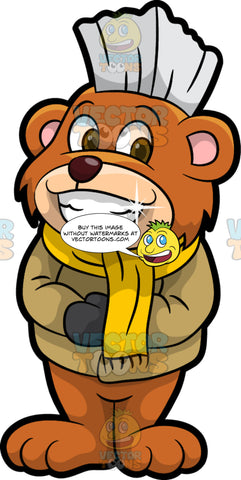 Brushy Bear Smiling And Showing His Sparkling Teeth. A cute brown bear with brown eyes and a white bristle mohawk hair cut, wearing a winter coat, mittens, and a yellow scarf, standing and smiling, showing off his white teeth