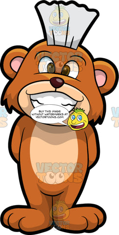 Brushy Bear Showing Off His Clean White Teeth. A cute brown bear with brown eyes and a white bristle mohawk hair cut, standing with his arms behind his back and smiling to show his beautiful white teeth