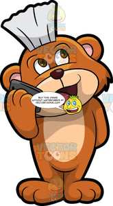 Brushy Bear Talking On The Cell Phone. A cute brown bear with brown eyes and a white bristle mohawk hair cut, standing and having a conversation with someone on the phone