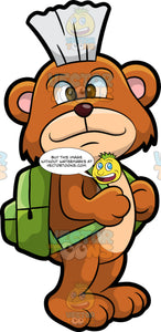 Brushy Bear Going To School. A cute brown bear with brown eyes and a white bristle mohawk hair cut, standing with a green backpack on his back ready to go to school
