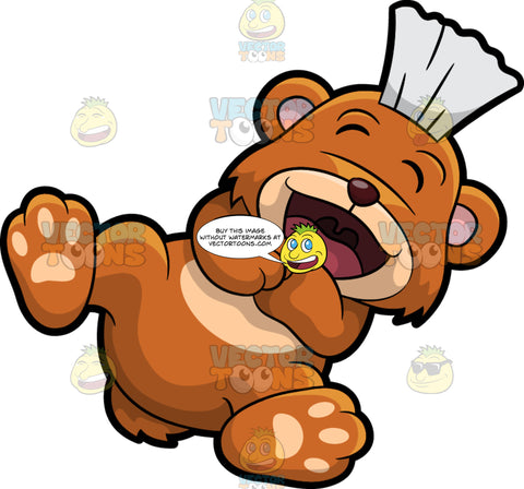 Brushy Bear Rolling On The Floor Laughing. A cute brown bear with brown eyes and a white bristle mohawk hair cut, lying on his back with his feet up in the air and laughing hysterically at something