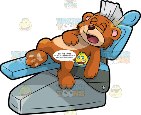 Brushy Bear Sleeping In A Dentist Chair. A cute brown bear with brown eyes and a white bristle mohawk hair cut, lying down on a blue dentist chair and having a nap