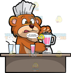 Brushy Bear Making A Healthy Smoothie. A cute brown bear with brown eyes and a white bristle mohawk hair cut, standing behind a counter and using a blender to make a delicious and healthy smoothie