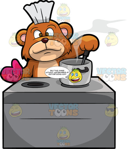 Brushy Bear Cooking Some Food. A cute brown bear with brown eyes and a white bristle mohawk hair cut, standing behind a stove and stirring some food in a big pot