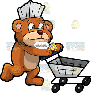 Brushy Bear Pushing A Grocery Cart. A cute brown bear with brown eyes and a white bristle mohawk hair cut, walking behind an empty grocery cart and pushing it
