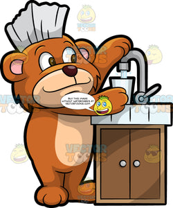 Brushy Bear Filling Up A Glass With Water. A cute brown bear with brown eyes and a white bristle mohawk hair cut, standing at a sink and filling up a glass with water from the tap