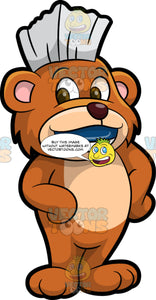 Brushy Bear Wearing A Blue Retainer. A cute brown bear with brown eyes and a white bristle mohawk hair cut, standing and smiling, showing off the blue mouth guard on his teeth