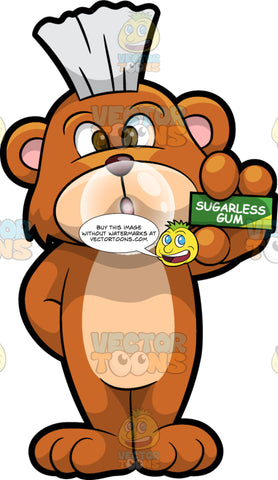 Brushy Bear Chewing Sugarless Gum. A cute brown bear with brown eyes and a white bristle mohawk hair cut, holding a pack of sugarless gum and blowing a bubble with the gum in his mouth