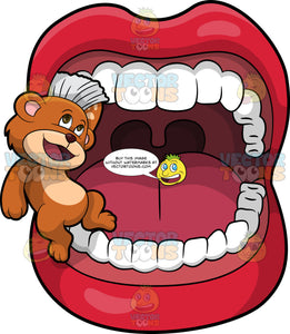 Brushy Bear Brushing Some Teeth. A cute brown bear with brown eyes and a white bristle mohawk hair cut, standing inside a mouth and using his bristle mohawk to brush the teeth