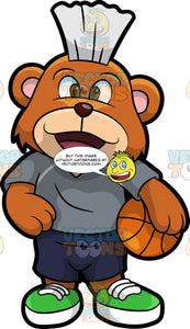 Brushy Bear Ready To Play Basketball. A cute brown bear with brown eyes and a white bristle mohawk hair cut, wearing  dark blue shorts, a gray t-shirt, and green running shoes, standing and holding a basketball with one paw
