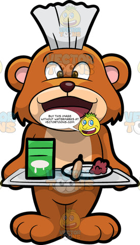 Brushy Bear Holding A School Lunch Tray. A cute brown bear with brown eyes and a white bristle mohawk hair cut, standing and holding a metal tray with food and a carton of milk on it