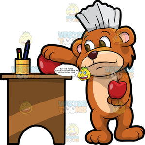 Brushy Bear Putting An Apple On His Teachers Desk. A cute brown bear with brown eyes and a white bristle mohawk hair cut, holding a red apple in one paw and using his other paw to put a red apple on his teacher's desk