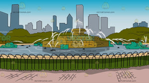 Buckingham Fountain In Chicago Background