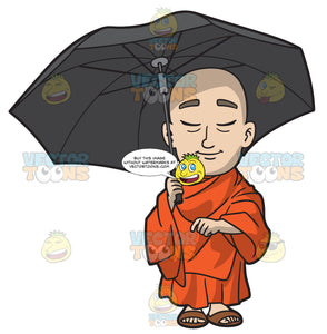 A Buddhist Monk Carrying An Umbrella