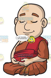 A Chubby Buddhist Monk Meditating