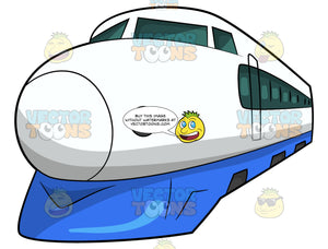 The Front End Of A Bullet Train. A white bullet train with bulbous front end, blue undercarriage and windows along the side