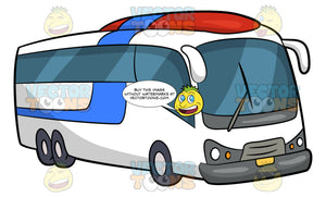 A Tourist Bus. A tourist bus with white, blue and red body paint, flat front, blue tinted windows and six tires