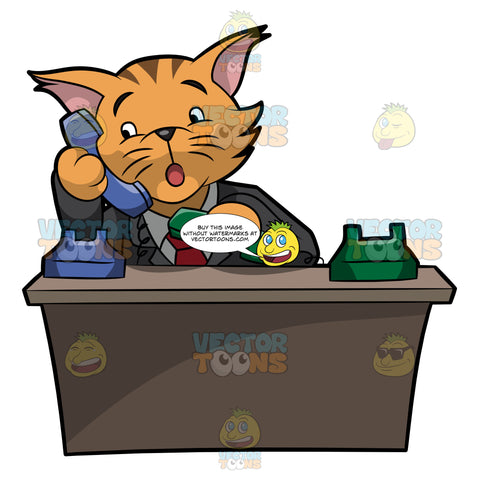 A Business Cat Answering Calls
