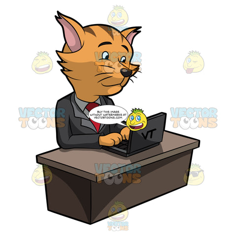A Business Cat Surfing The Internet Using A Laptop