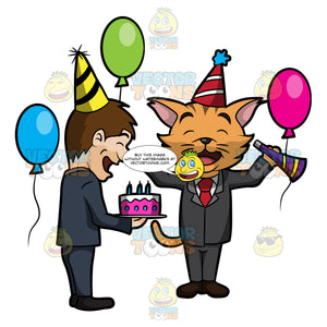A Business Cat Celebrating His Birthday