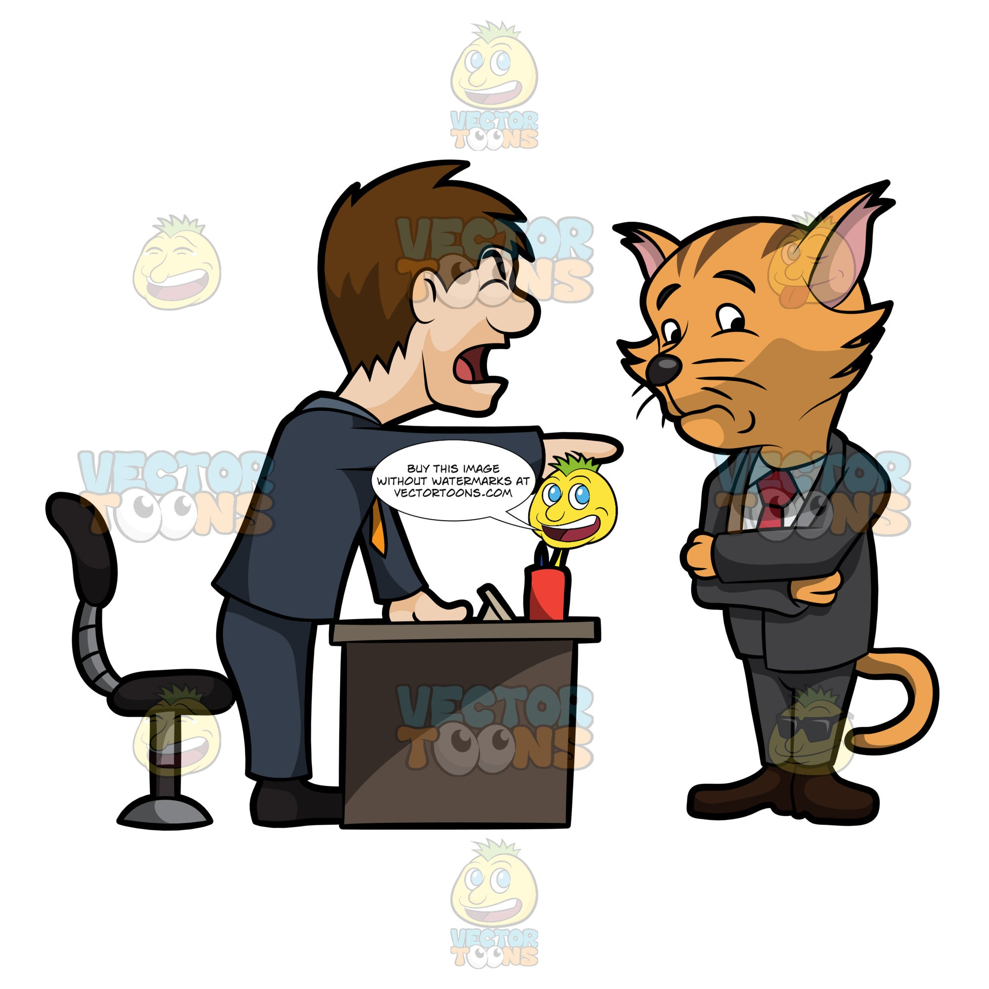 A Business Cat Being Scolded By His Boss