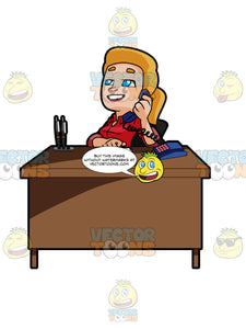 Blonde Woman Sitting At A Desk Talking On The Phone
