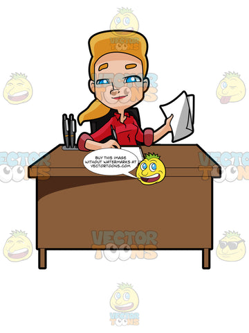 Blonde Woman Sitting At A Desk Doing Paperwork