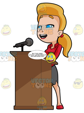 Blonde Woman Standing At A Podium Talking Into A Microphone
