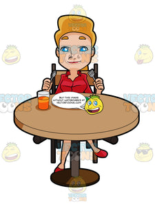 Blonde Woman Sitting At A Table About To Eat A Meal