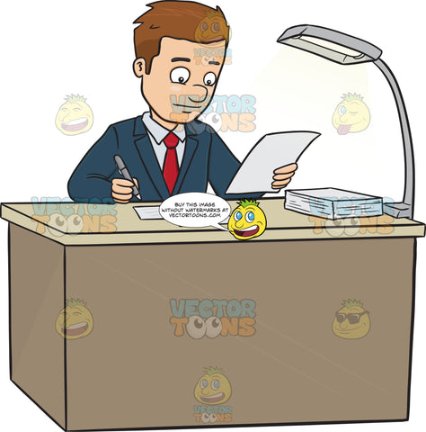 Business Man Sitting At A Desk Looking At Paperwork