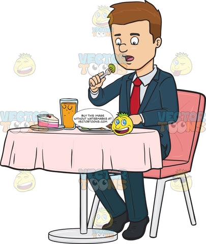 Man Eating A Meal At A Restaurant