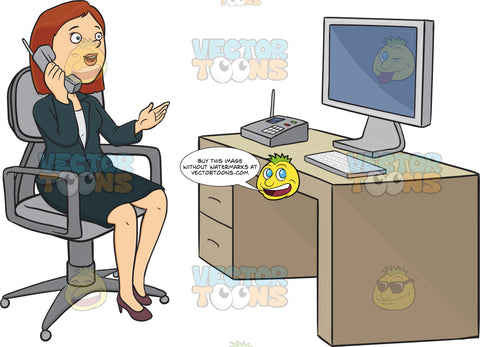 Business Woman Sitting At A Desk Talking On The Phone