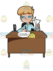 Young Man Sitting At A Desk Doing Paperwork