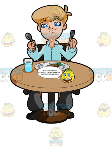 Man Sitting At A Table With A Plate Of Food In Front Of Him