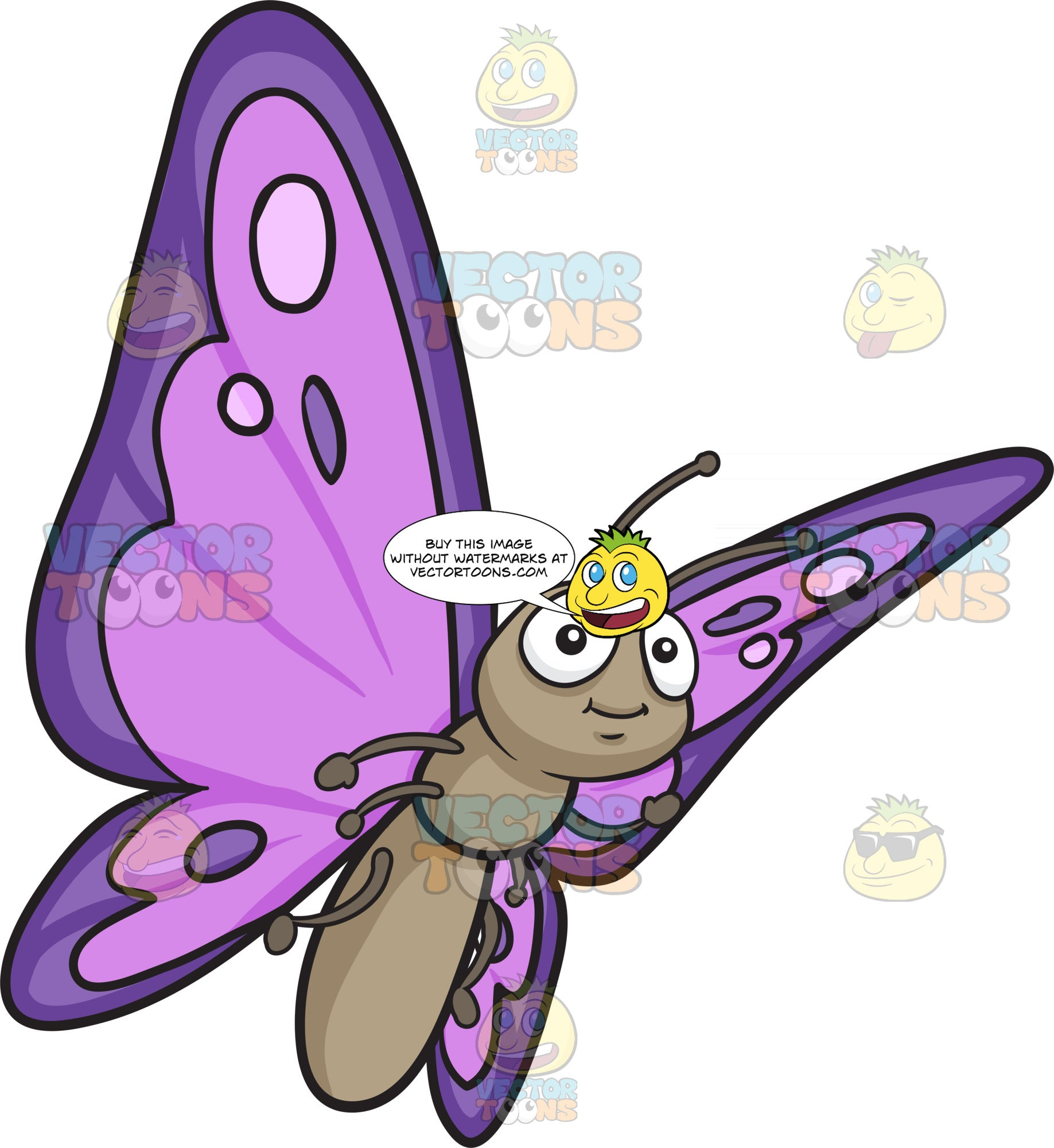A Pretty Butterfly With Violet And Purple Wings