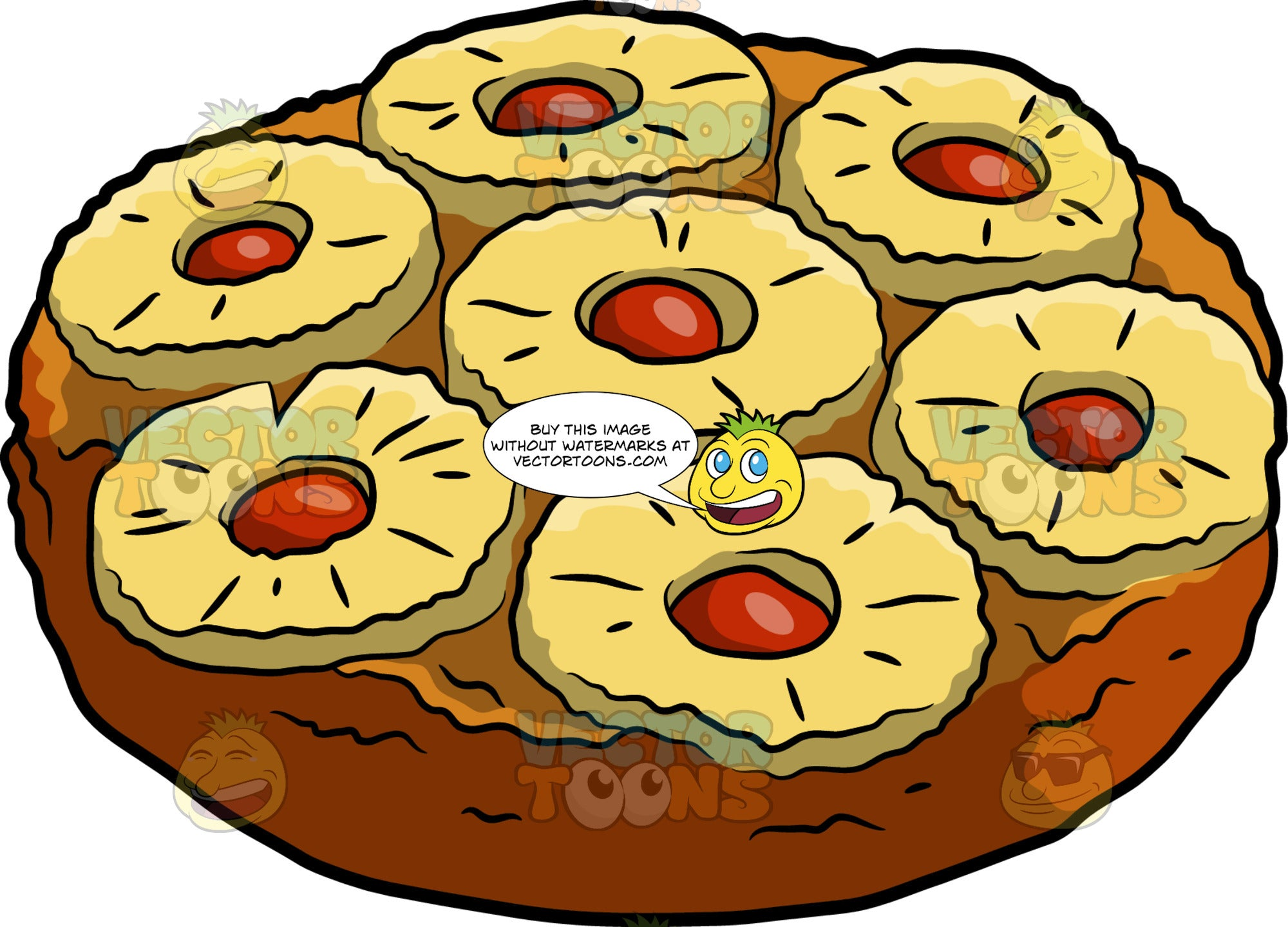 A Pineapple Upside Down Cake – Clipart Cartoons By VectorToons