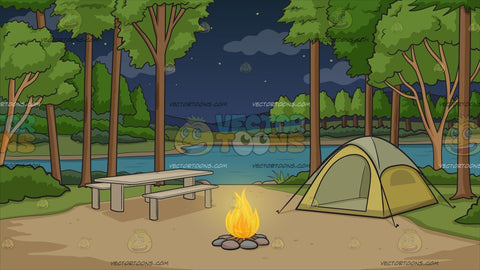 Campground With Tent At Night Background