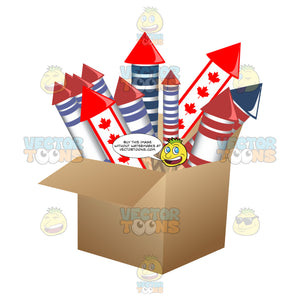 Cardboard Box Filled With Fireworks Including Canadian Maple Leaf Covered Rockets