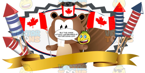 Cartoon Brown Beaver Holding Canadian Flags Wearing Maple Leaf Top Hat Over Gold Banner With Fireworks
