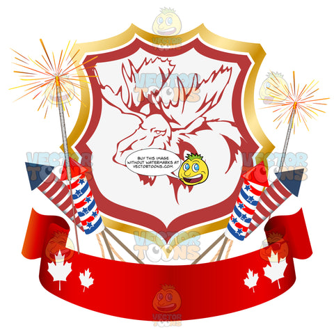 Bull Moose Inside Badge Surrounded By Fireworks With Red And White Maple Leaf Banner Underneath