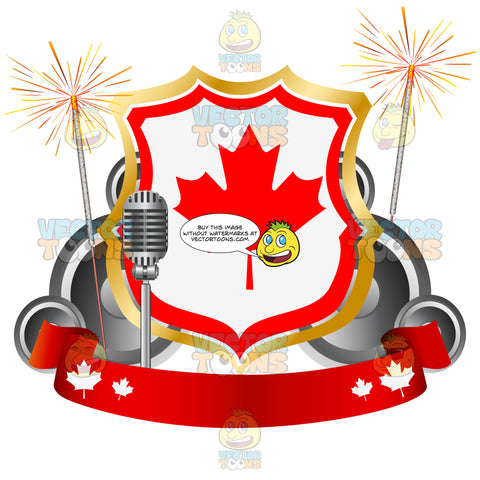 Canadian Maple Leaf Badge With Sparklers And Red Banner Underneath Next To Old Fashioned Microphone