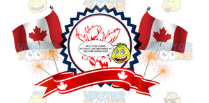 Patriotic Canadian Banner With Maple Leaf Flags, Sparkler Fireworks And Male Bull Moose In Center