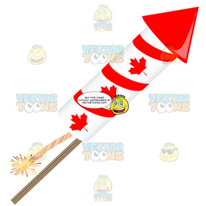 Single Red And White Maple Leaf Firework Rocket Lit Pointing Right
