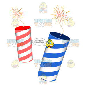 Two Red And White And Blue And White Striped Fireworks Firecrackers Lit