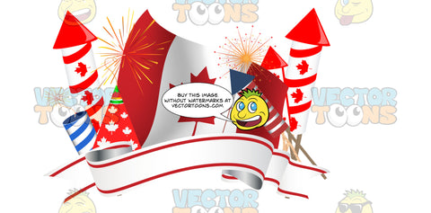 Canadian Flag Surrounded By Fireworks, Party Hat And Banner